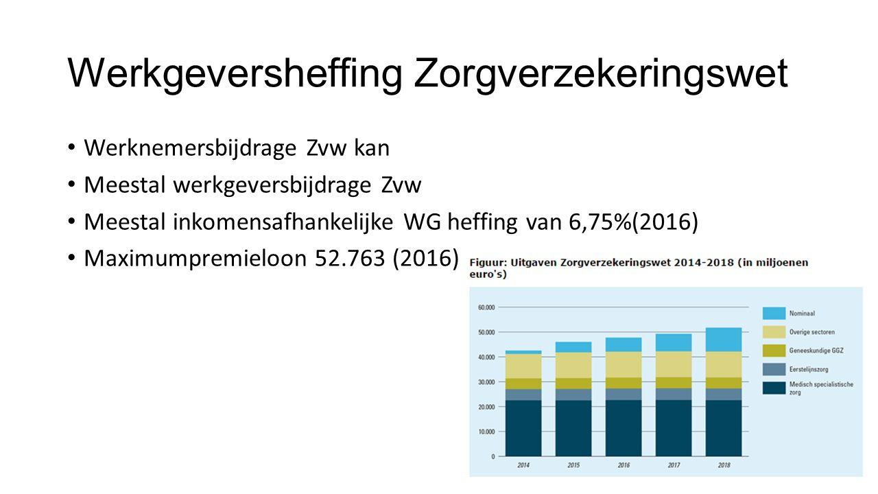 Werkgeversheffing Zorgverzekeringswet Werknemersbijdrage Zvw kan Meestal werkgeversbijdrage Zvw Meestal inkomensafhankelijke WG heffing van 6,75%(2016) Maximumpremieloon 52.763 (2016)