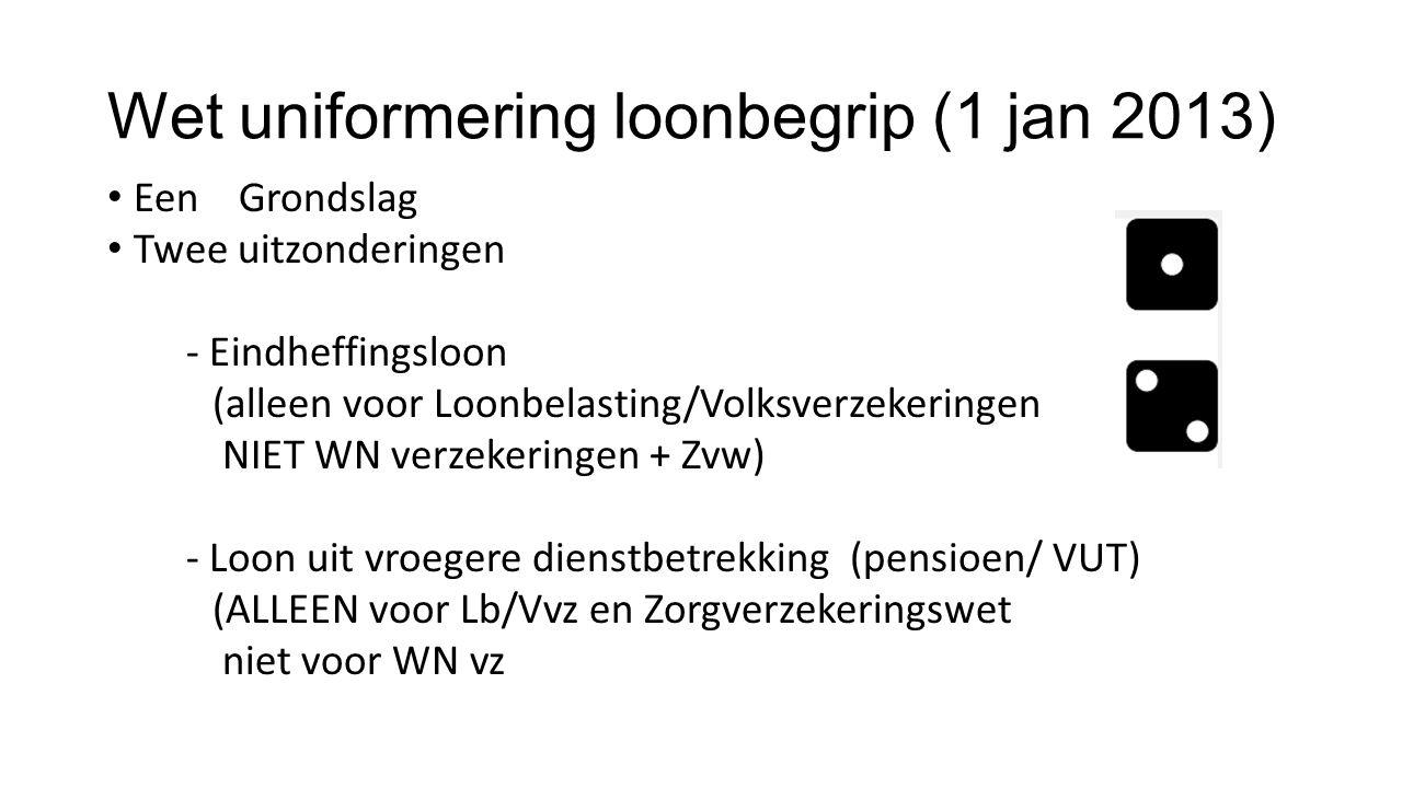 Wet uniformering loonbegrip (1 jan 2013) Een Grondslag Twee uitzonderingen - Eindheffingsloon (alleen voor Loonbelasting/Volksverzekeringen NIET WN verzekeringen + Zvw) - Loon uit vroegere dienstbetrekking (pensioen/ VUT) (ALLEEN voor Lb/Vvz en Zorgverzekeringswet niet voor WN vz