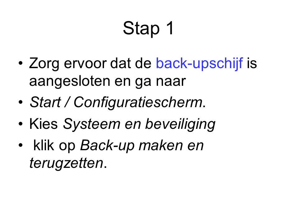 Stap 1 Zorg ervoor dat de back-upschijf is aangesloten en ga naar Start / Configuratiescherm.