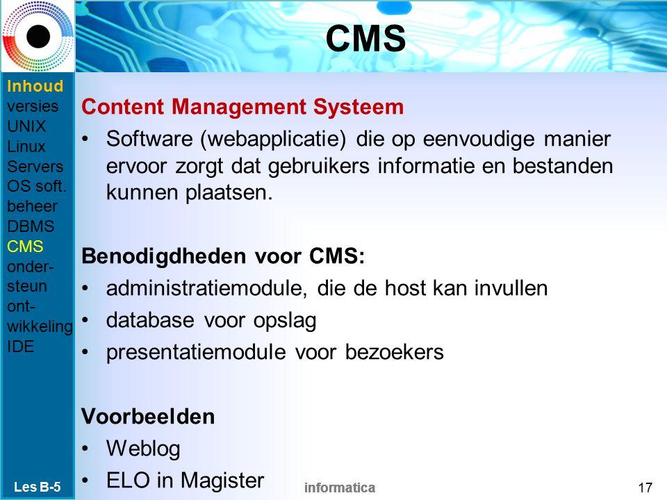 informatica CMS Content Management Systeem Software (webapplicatie) die op eenvoudige manier ervoor zorgt dat gebruikers informatie en bestanden kunnen plaatsen.