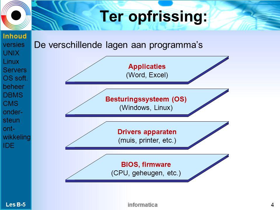 informatica DBMS DataBase Management System software voor beheer van een database via een netwerk Voorbeelden: DTP (desktop publishing) cijferadministratie in Magister Sharepoint SQL: een taal zoals HTML om vragen te stellen Les B-5 15 Inhoud versies UNIX Linux Servers OS soft.