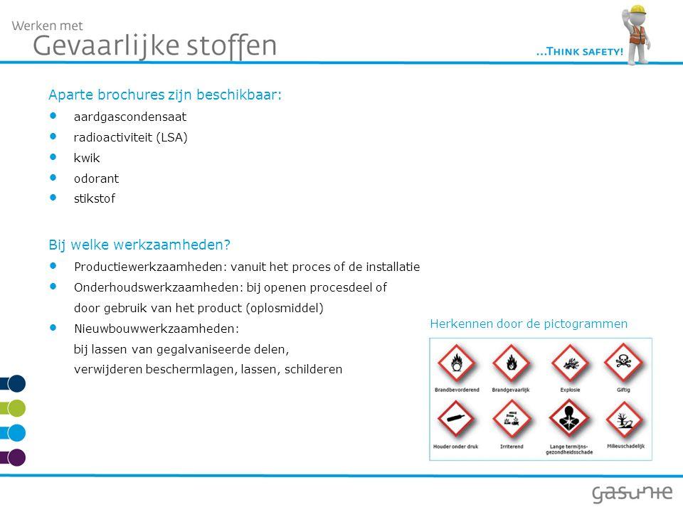 Aparte brochures zijn beschikbaar: aardgascondensaat radioactiviteit (LSA) kwik odorant stikstof Bij welke werkzaamheden.