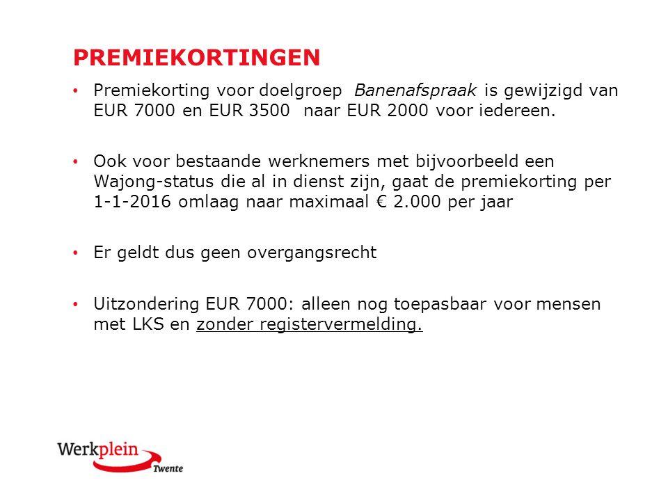 Premiekorting voor doelgroep Banenafspraak is gewijzigd van EUR 7000 en EUR 3500 naar EUR 2000 voor iedereen.