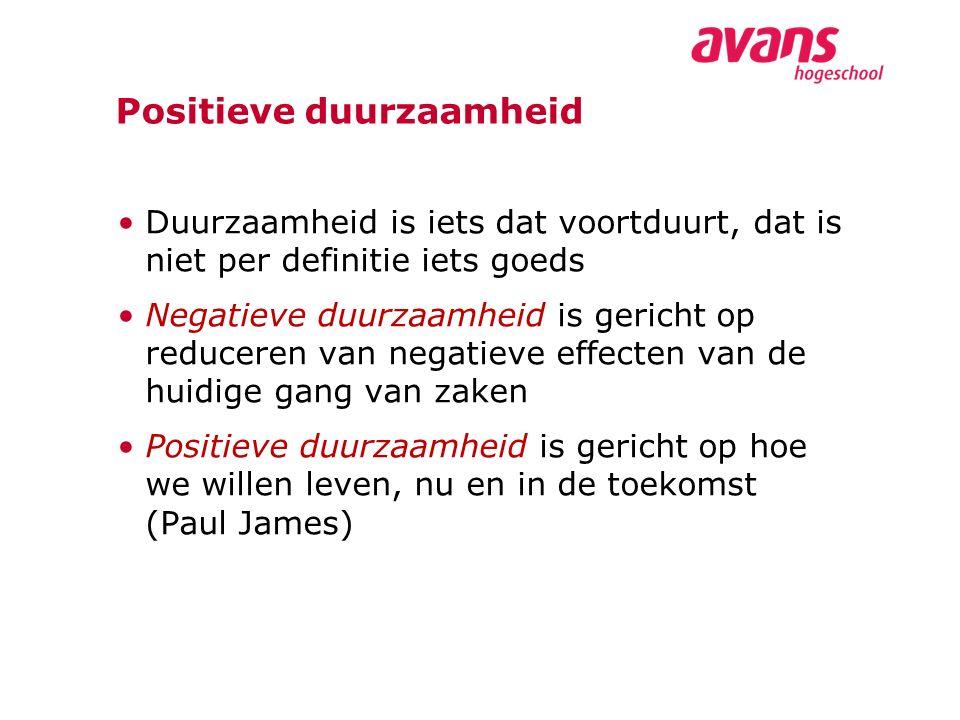 Positieve duurzaamheid Duurzaamheid is iets dat voortduurt, dat is niet per definitie iets goeds Negatieve duurzaamheid is gericht op reduceren van negatieve effecten van de huidige gang van zaken Positieve duurzaamheid is gericht op hoe we willen leven, nu en in de toekomst (Paul James)