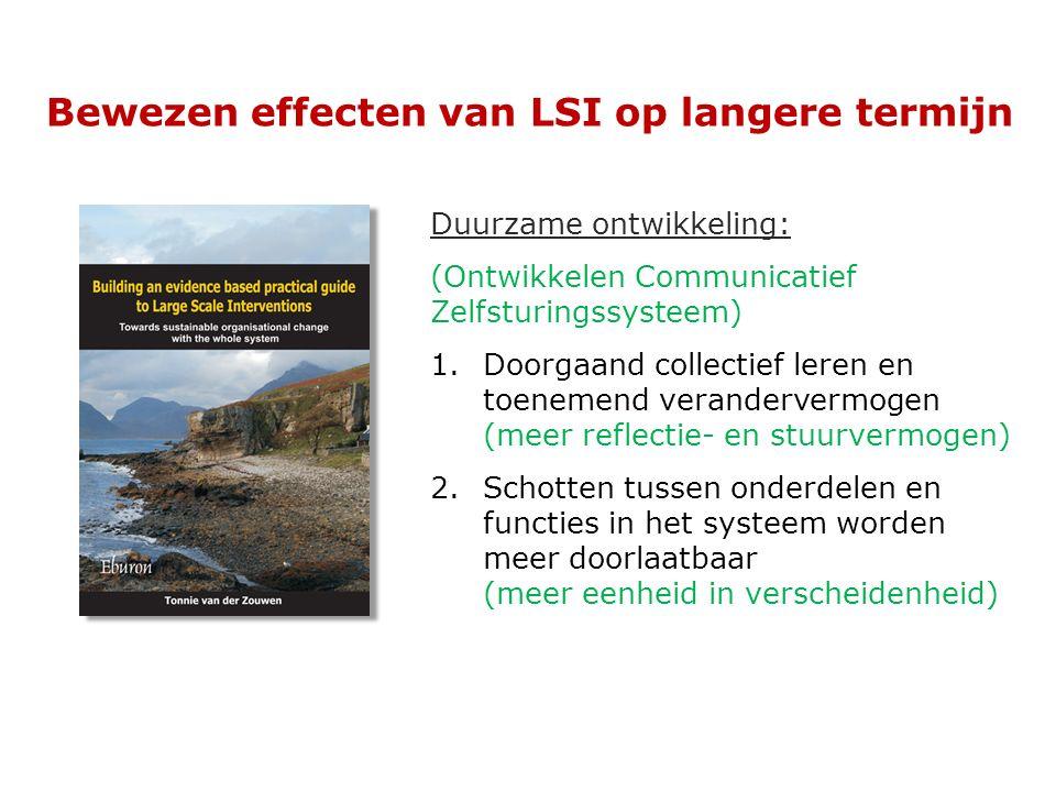 Bewezen effecten van LSI op langere termijn Duurzame ontwikkeling: (Ontwikkelen Communicatief Zelfsturingssysteem) 1.Doorgaand collectief leren en toenemend verandervermogen (meer reflectie- en stuurvermogen) 2.Schotten tussen onderdelen en functies in het systeem worden meer doorlaatbaar (meer eenheid in verscheidenheid)
