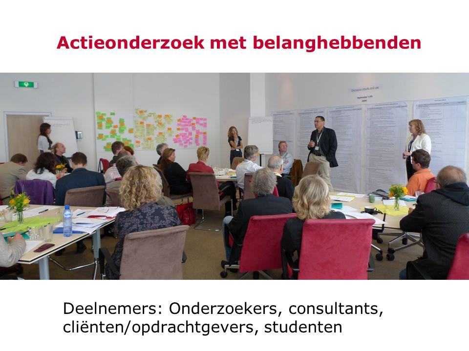 Actieonderzoek met belanghebbenden Deelnemers: Onderzoekers, consultants, cliënten/opdrachtgevers, studenten