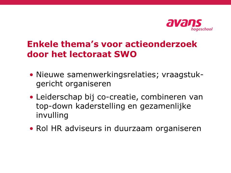 Enkele thema's voor actieonderzoek door het lectoraat SWO Nieuwe samenwerkingsrelaties; vraagstuk- gericht organiseren Leiderschap bij co-creatie, combineren van top-down kaderstelling en gezamenlijke invulling Rol HR adviseurs in duurzaam organiseren