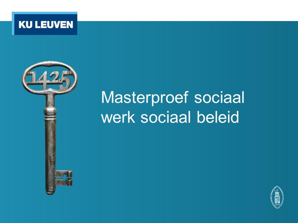 Masterproef sociaal werk sociaal beleid