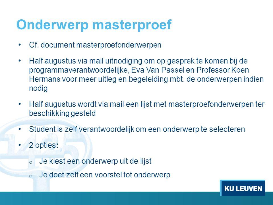 Onderwerp masterproef Cf.