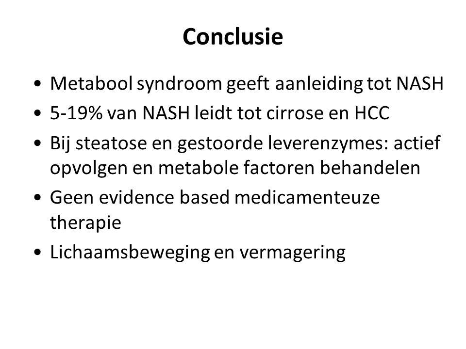 Conclusie Metabool syndroom geeft aanleiding tot NASH 5-19% van NASH leidt tot cirrose en HCC Bij steatose en gestoorde leverenzymes: actief opvolgen