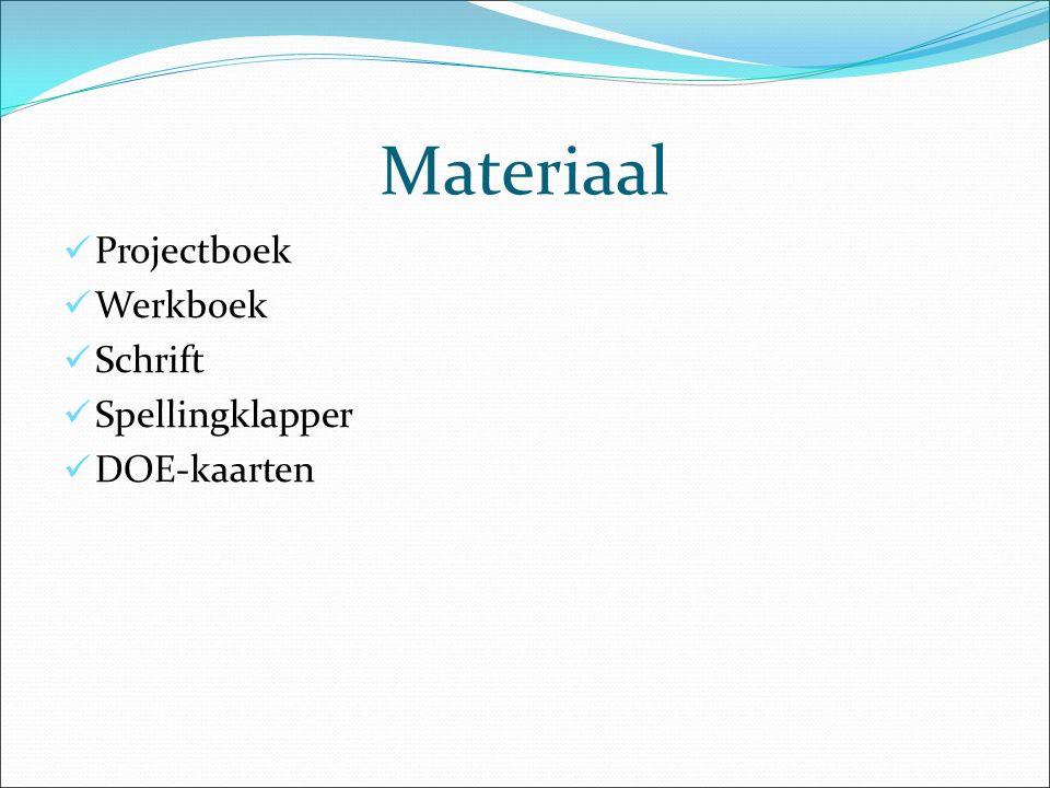 Materiaal Projectboek Werkboek Schrift Spellingklapper DOE-kaarten