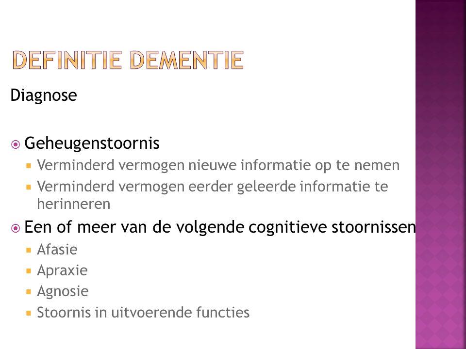 Diagnose  Geheugenstoornis  Verminderd vermogen nieuwe informatie op te nemen  Verminderd vermogen eerder geleerde informatie te herinneren  Een o
