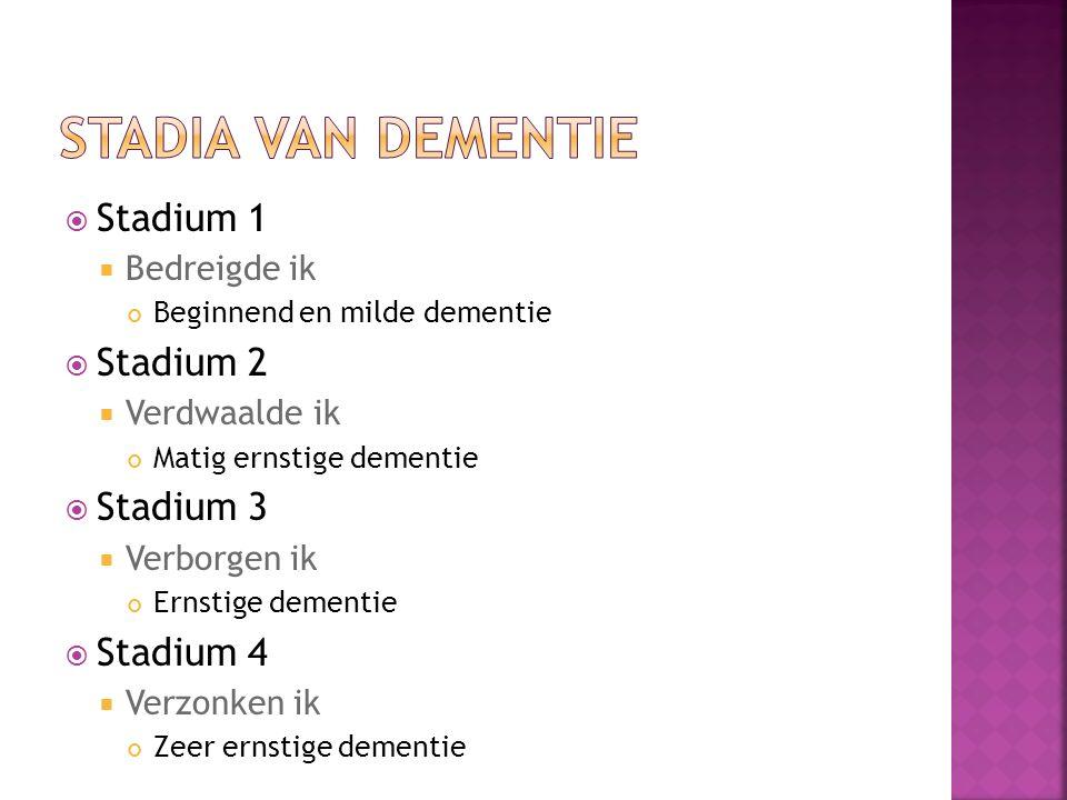 Stadium 1  Bedreigde ik Beginnend en milde dementie  Stadium 2  Verdwaalde ik Matig ernstige dementie  Stadium 3  Verborgen ik Ernstige dementie  Stadium 4  Verzonken ik Zeer ernstige dementie