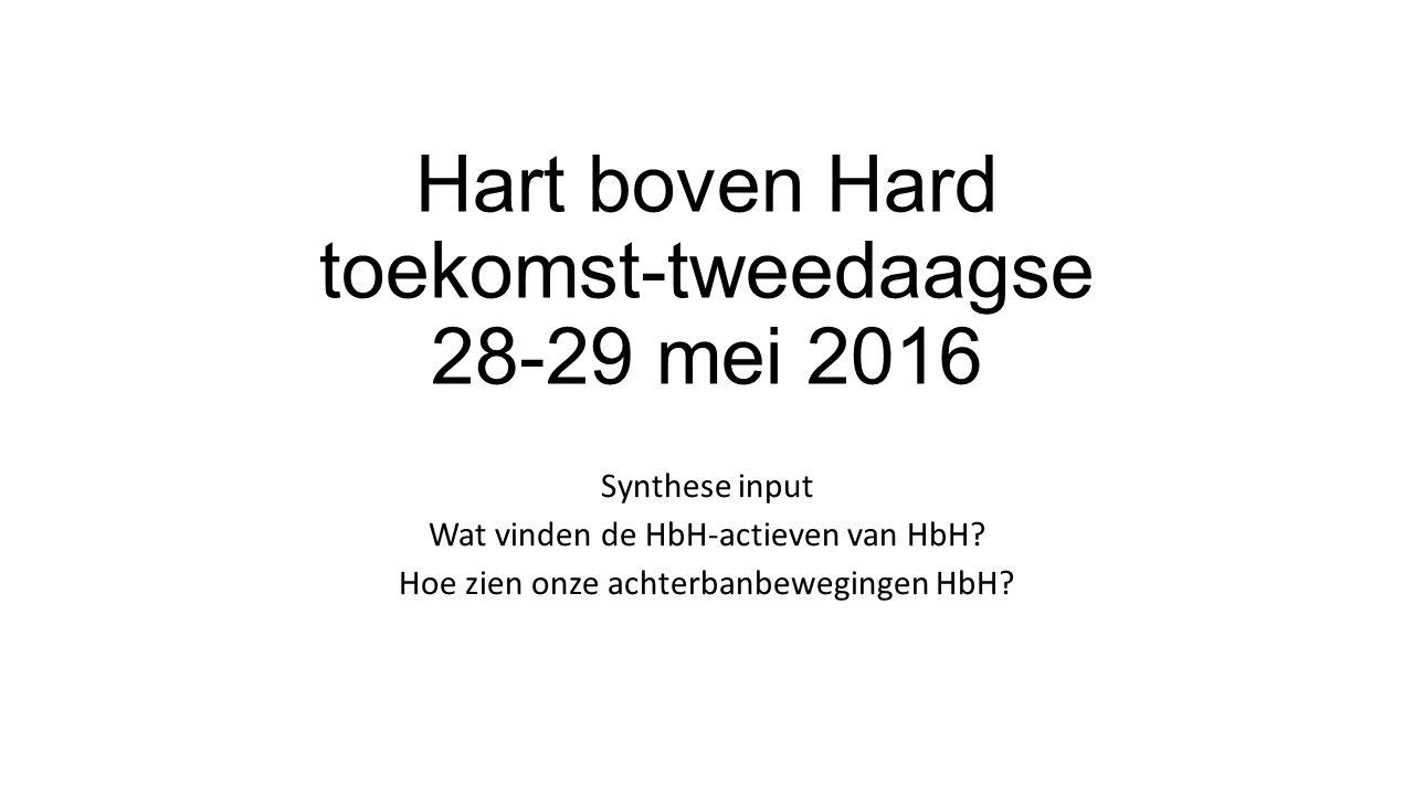Hart boven Hard toekomst-tweedaagse 28-29 mei 2016 Synthese input Wat vinden de HbH-actieven van HbH.