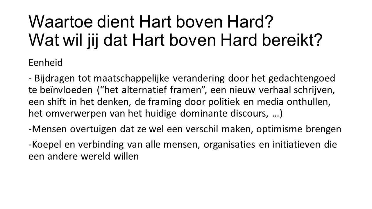 Waartoe dient Hart boven Hard. Wat wil jij dat Hart boven Hard bereikt.