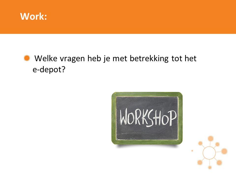 Work: Welke vragen heb je met betrekking tot het e-depot?