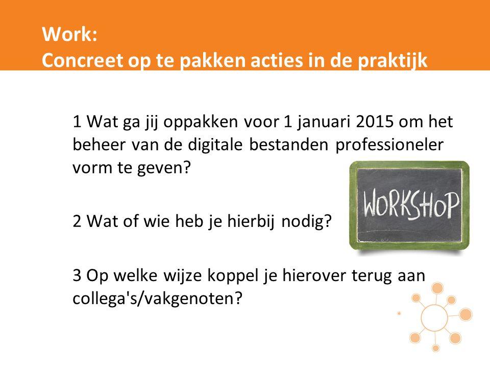 Work: Concreet op te pakken acties in de praktijk 1 Wat ga jij oppakken voor 1 januari 2015 om het beheer van de digitale bestanden professioneler vor
