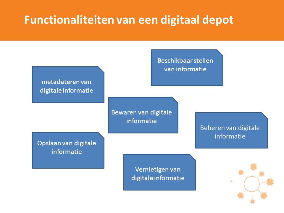 Functionaliteiten van een digitaal depot metadateren van digitale informatie Opslaan van digitale informatie Vernietigen van digitale informatie Bewar