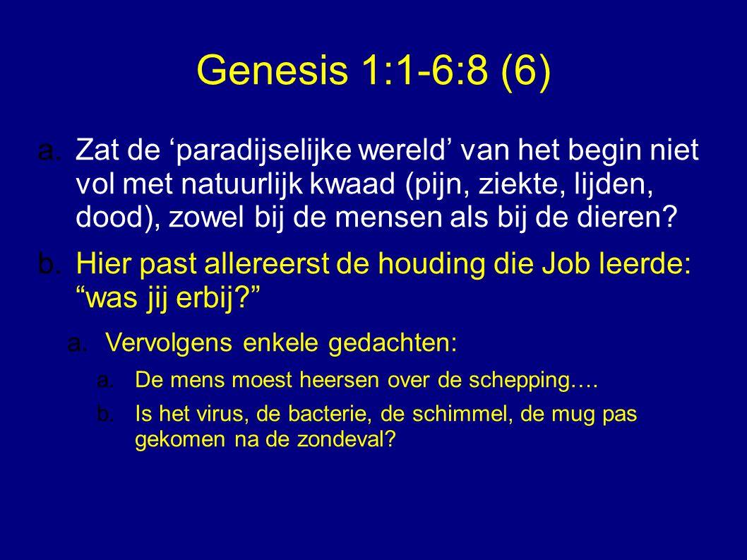 Genesis 1:1-6:8 (6) a.b.Christenen duiden de eeuwige toekomst vaak in termen van herstel van de oorspronkelijke wereld.