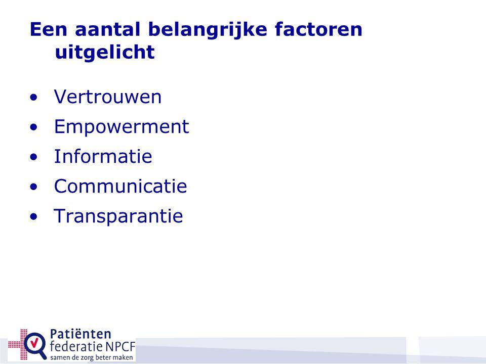 Een aantal belangrijke factoren uitgelicht Vertrouwen Empowerment Informatie Communicatie Transparantie