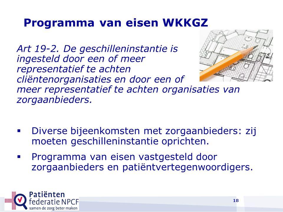 18 Programma van eisen WKKGZ Art 19-2.
