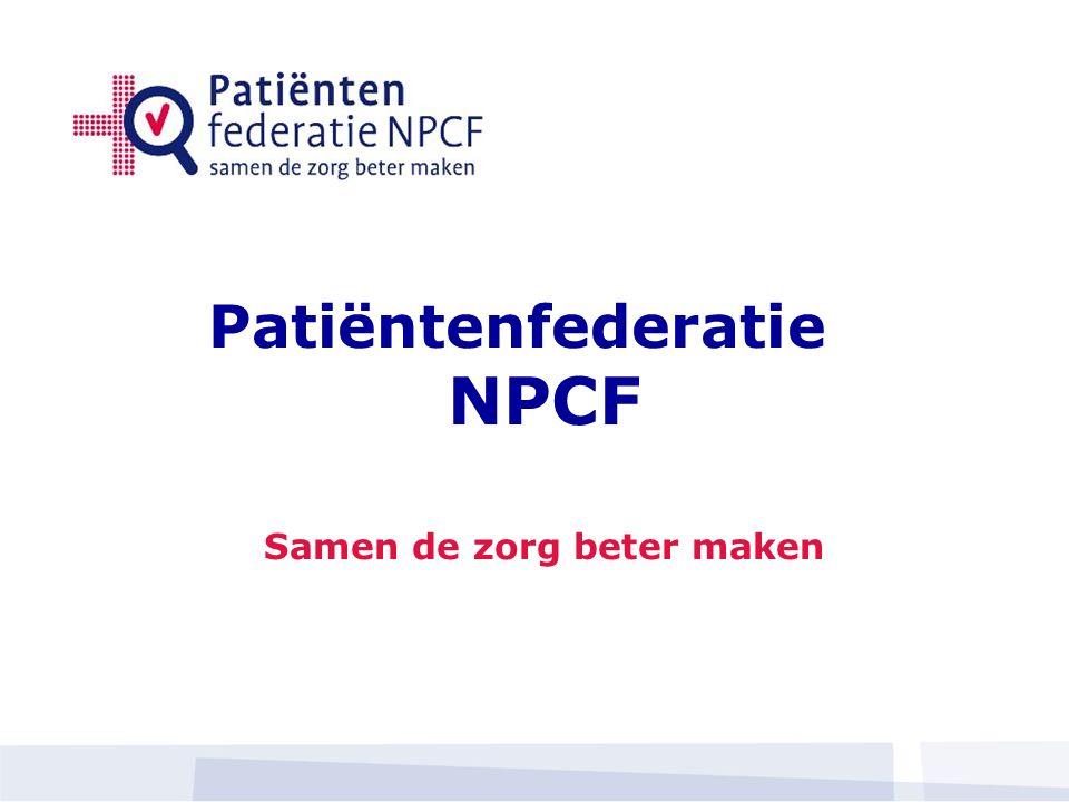 Patiëntenfederatie NPCF Samen de zorg beter maken