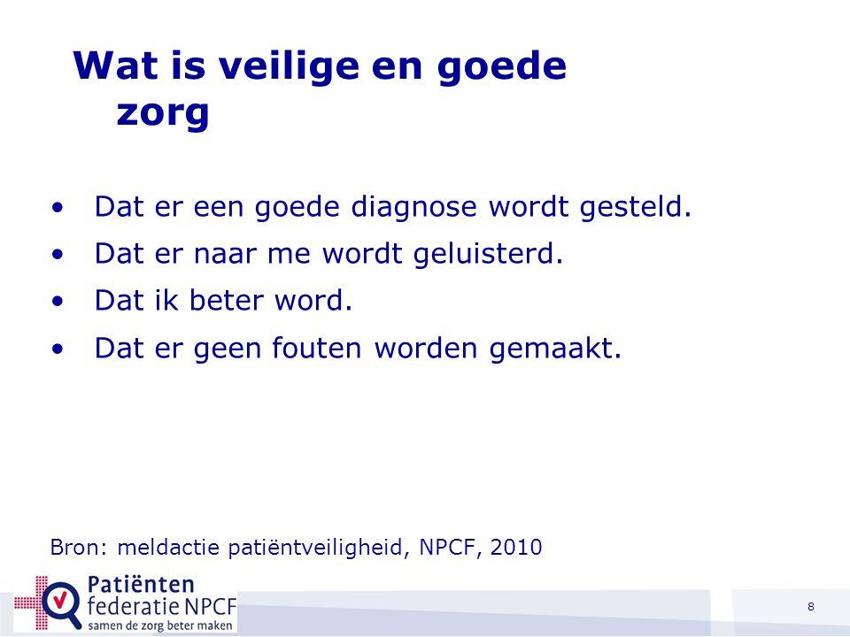 Wat is veilige en goede zorg voor patiënten. Dat er een goede diagnose wordt gesteld.