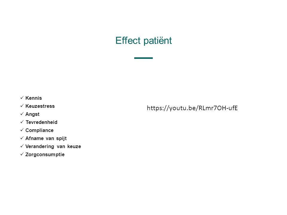 Effect patiënt Kennis Keuzestress Angst Tevredenheid Compliance Afname van spijt Verandering van keuze Zorgconsumptie https://youtu.be/RLmr7OH-ufE