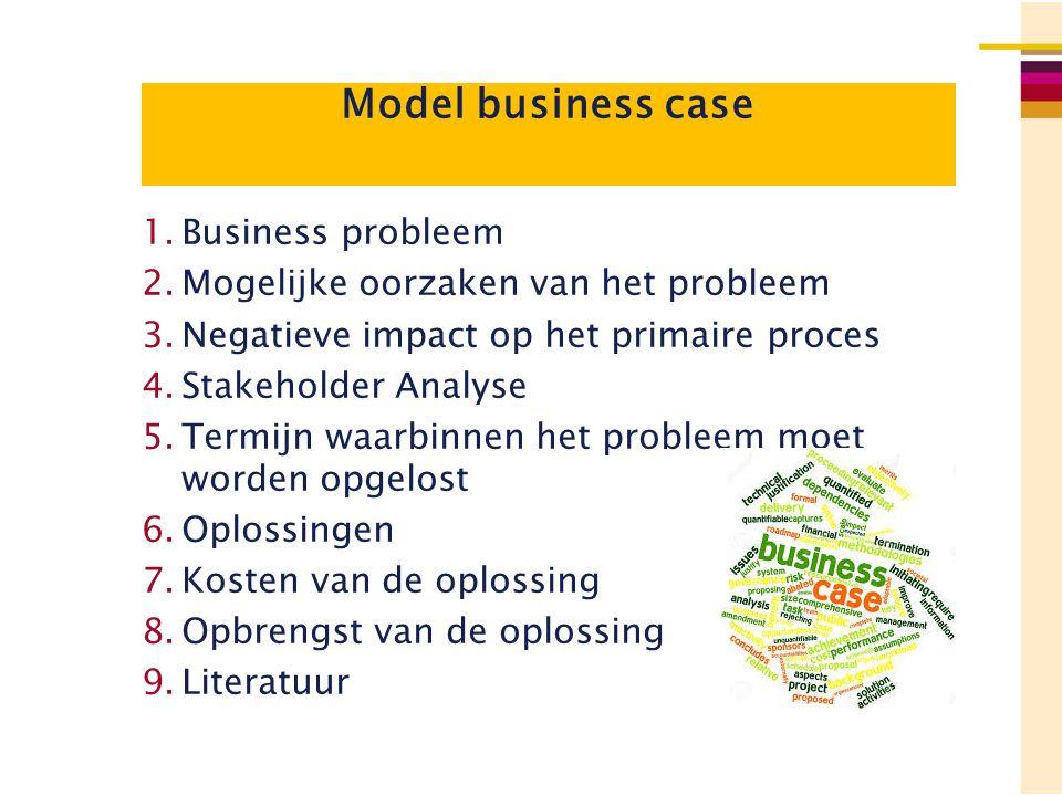 Model business case 1.Business probleem 2.Mogelijke oorzaken van het probleem 3.Negatieve impact op het primaire proces 4.Stakeholder Analyse 5.Termij