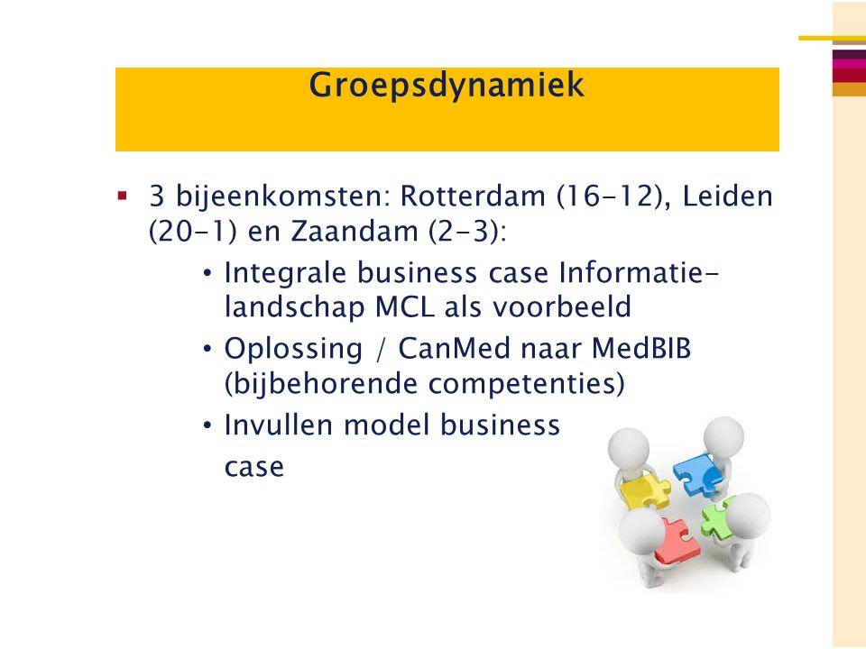 Groepsdynamiek  3 bijeenkomsten: Rotterdam (16-12), Leiden (20-1) en Zaandam (2-3): Integrale business case Informatie- landschap MCL als voorbeeld O