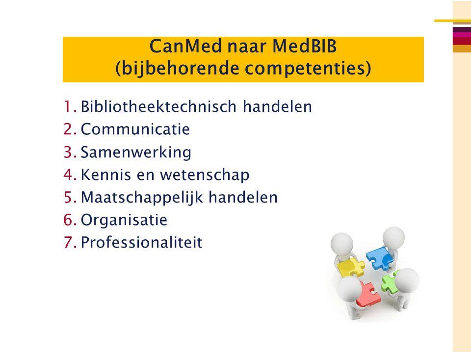 CanMed naar MedBIB (bijbehorende competenties) 1.Bibliotheektechnisch handelen 2.Communicatie 3.Samenwerking 4.Kennis en wetenschap 5.Maatschappelijk