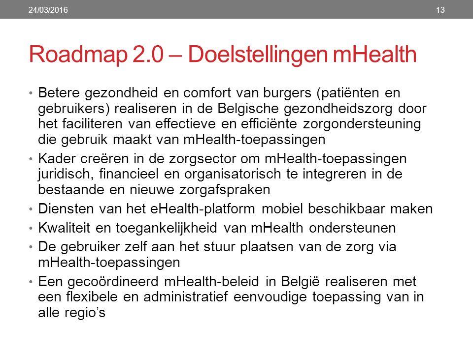 Roadmap 2.0 – Doelstellingen mHealth 24/03/201613 Betere gezondheid en comfort van burgers (patiënten en gebruikers) realiseren in de Belgische gezondheidszorg door het faciliteren van effectieve en efficiënte zorgondersteuning die gebruik maakt van mHealth-toepassingen Kader creëren in de zorgsector om mHealth-toepassingen juridisch, financieel en organisatorisch te integreren in de bestaande en nieuwe zorgafspraken Diensten van het eHealth-platform mobiel beschikbaar maken Kwaliteit en toegankelijkheid van mHealth ondersteunen De gebruiker zelf aan het stuur plaatsen van de zorg via mHealth-toepassingen Een gecoördineerd mHealth-beleid in België realiseren met een flexibele en administratief eenvoudige toepassing van in alle regio's
