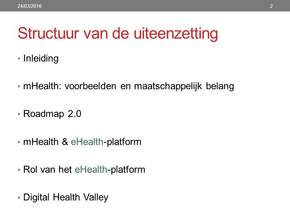 Inleiding: Mobile Health (mHealth) Mobile Health (mHealth): medische praktijk die mobiele toepassingen (smartphones, tablets, laptops,...) als ondersteuning heeft In deze presentatie ligt de focus op gezondheids-apps: computerprogramma's die functioneren op een mobiel apparaat Meer dan 120.000 gezondheids-apps zijn beschikbaar in de verschillende appstores en op platformen Een groot deel daarvan zijn fitness/wellness-apps (stappentellers, apps die gewicht en BMI opvolgen, apps die geluiden maken om makkelijker in slaap te vallen, …) 24/03/20163