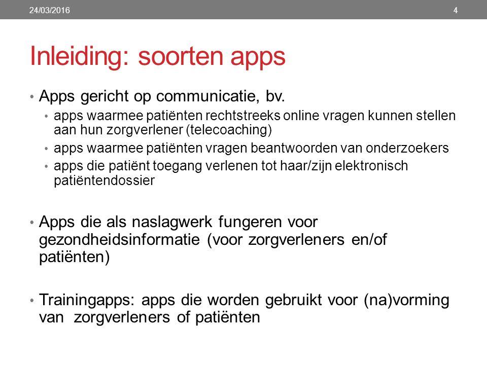 Inleiding: soorten apps Apps gericht op communicatie, bv. apps waarmee patiënten rechtstreeks online vragen kunnen stellen aan hun zorgverlener (telec