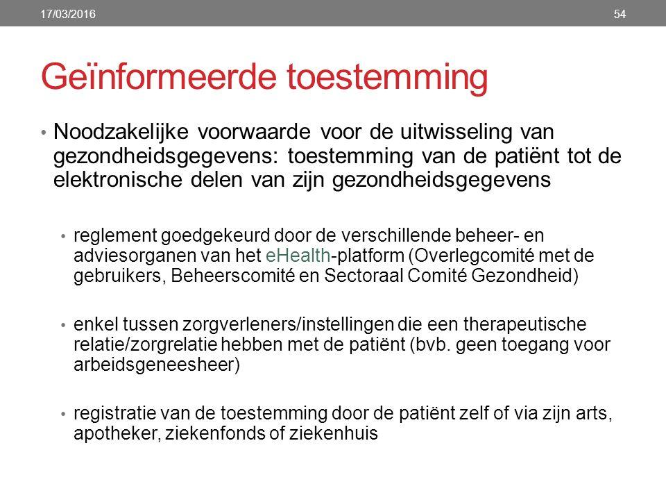 Geïnformeerde toestemming Noodzakelijke voorwaarde voor de uitwisseling van gezondheidsgegevens: toestemming van de patiënt tot de elektronische delen