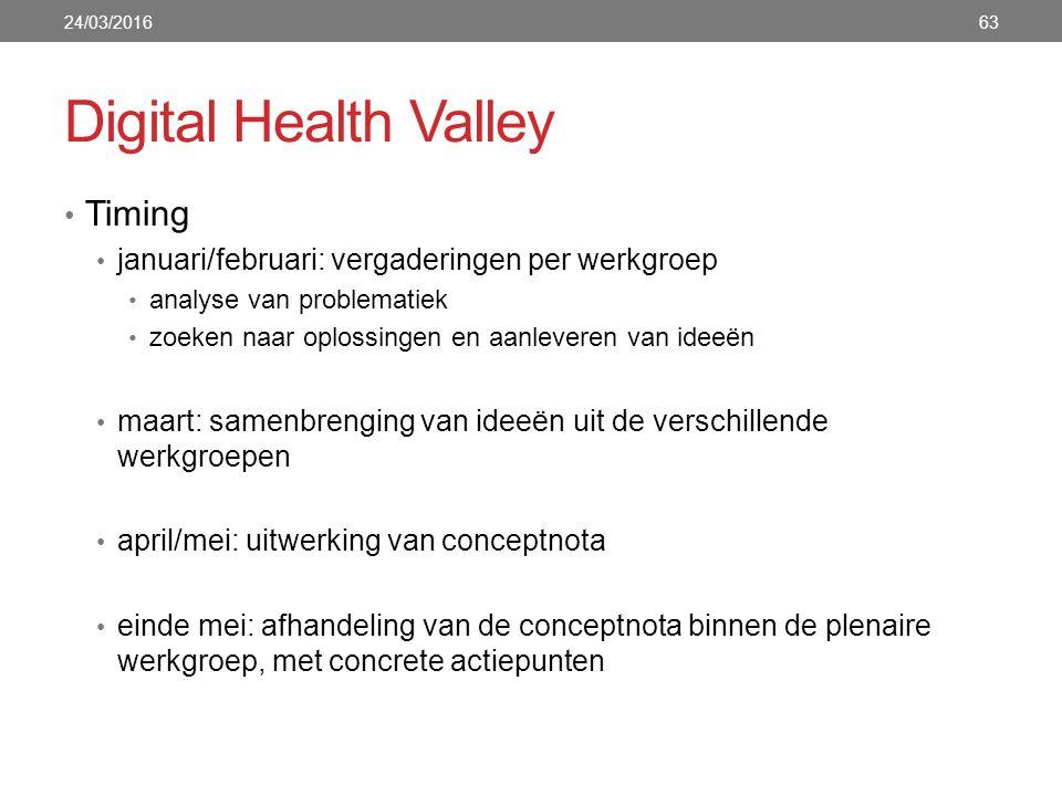 Digital Health Valley Timing januari/februari: vergaderingen per werkgroep analyse van problematiek zoeken naar oplossingen en aanleveren van ideeën m