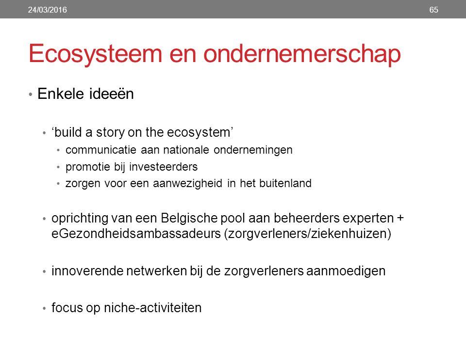 Enkele ideeën 'build a story on the ecosystem' communicatie aan nationale ondernemingen promotie bij investeerders zorgen voor een aanwezigheid in het buitenland oprichting van een Belgische pool aan beheerders experten + eGezondheidsambassadeurs (zorgverleners/ziekenhuizen) innoverende netwerken bij de zorgverleners aanmoedigen focus op niche-activiteiten 24/03/201665 Ecosysteem en ondernemerschap