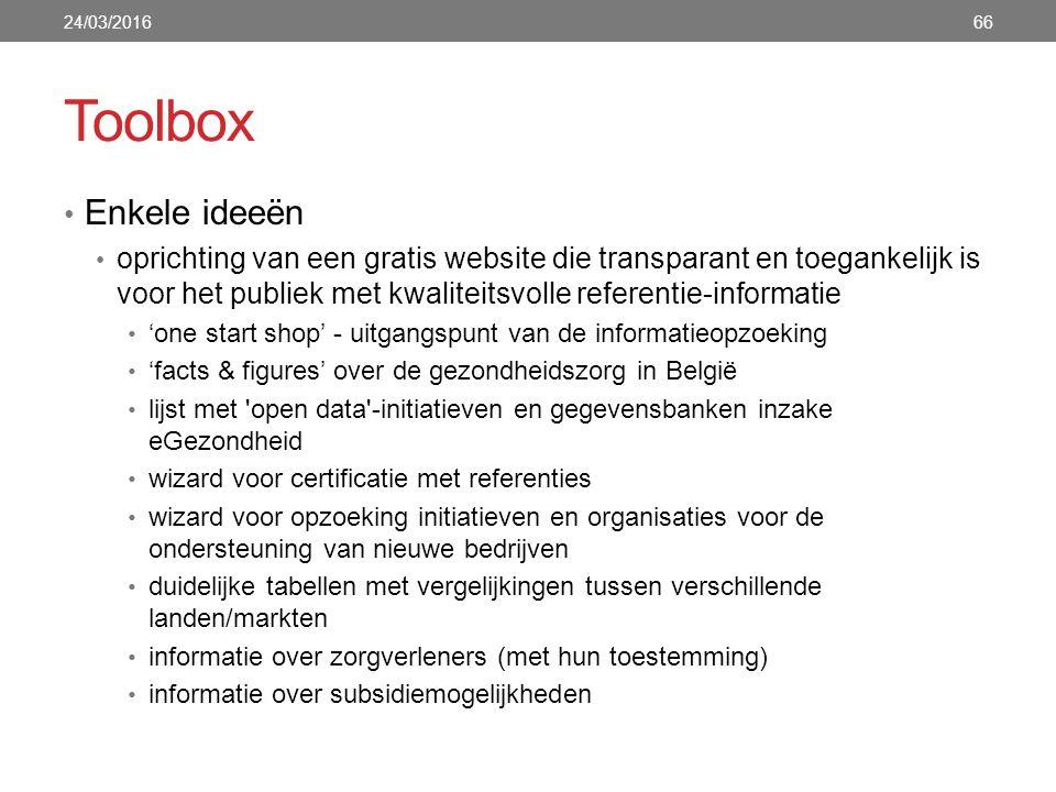 Toolbox Enkele ideeën oprichting van een gratis website die transparant en toegankelijk is voor het publiek met kwaliteitsvolle referentie-informatie