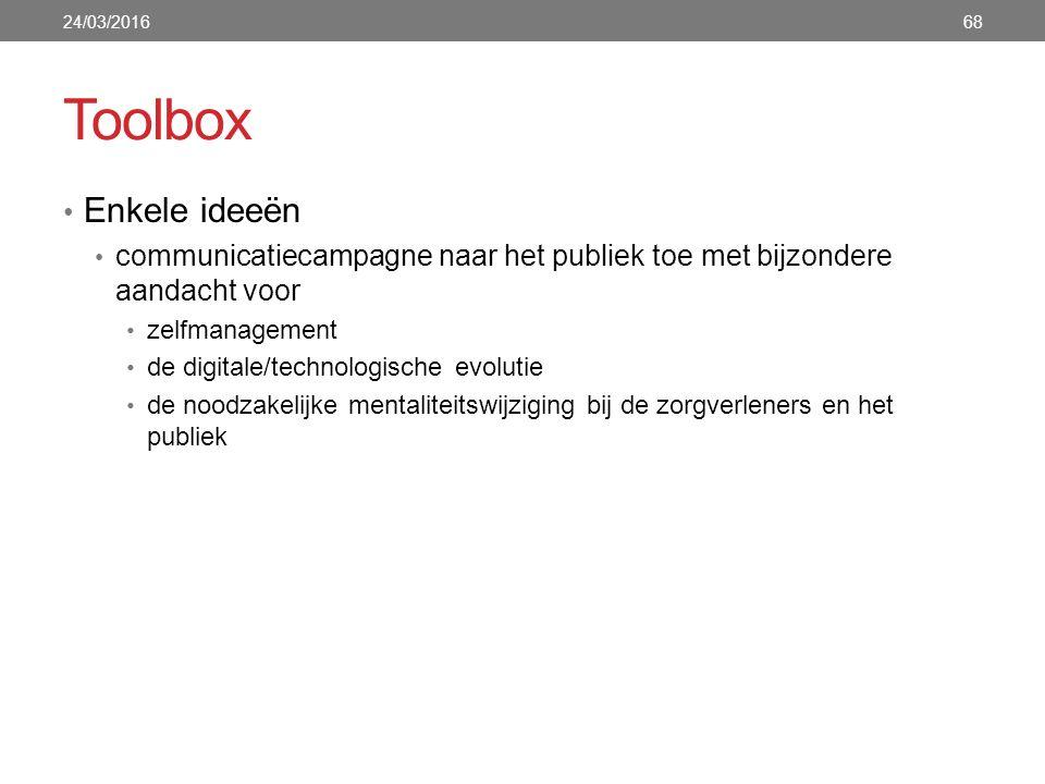 Toolbox Enkele ideeën communicatiecampagne naar het publiek toe met bijzondere aandacht voor zelfmanagement de digitale/technologische evolutie de noo