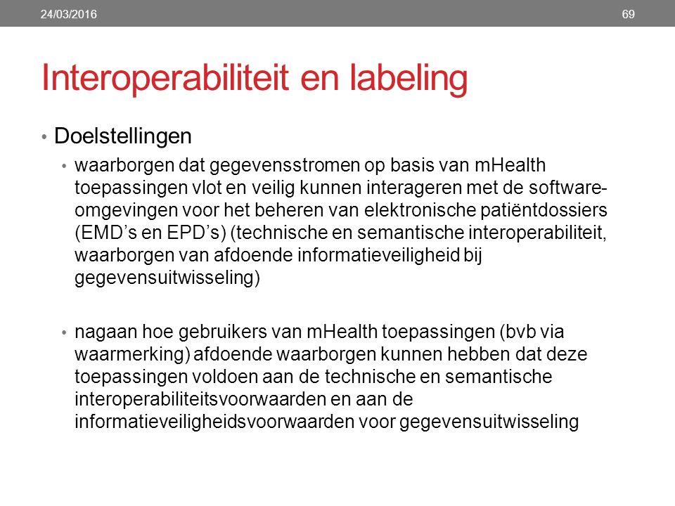 Interoperabiliteit en labeling Doelstellingen waarborgen dat gegevensstromen op basis van mHealth toepassingen vlot en veilig kunnen interageren met de software- omgevingen voor het beheren van elektronische patiëntdossiers (EMD's en EPD's) (technische en semantische interoperabiliteit, waarborgen van afdoende informatieveiligheid bij gegevensuitwisseling) nagaan hoe gebruikers van mHealth toepassingen (bvb via waarmerking) afdoende waarborgen kunnen hebben dat deze toepassingen voldoen aan de technische en semantische interoperabiliteitsvoorwaarden en aan de informatieveiligheidsvoorwaarden voor gegevensuitwisseling 24/03/201669