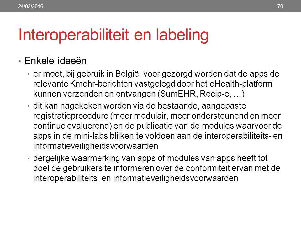 Interoperabiliteit en labeling Enkele ideeën er moet, bij gebruik in België, voor gezorgd worden dat de apps de relevante Kmehr-berichten vastgelegd door het eHealth-platform kunnen verzenden en ontvangen (SumEHR, Recip-e, …) dit kan nagekeken worden via de bestaande, aangepaste registratieprocedure (meer modulair, meer ondersteunend en meer continue evaluerend) en de publicatie van de modules waarvoor de apps in de mini-labs blijken te voldoen aan de interoperabiliteits- en informatieveiligheidsvoorwaarden dergelijke waarmerking van apps of modules van apps heeft tot doel de gebruikers te informeren over de conformiteit ervan met de interoperabiliteits- en informatieveiligheidsvoorwaarden 24/03/201670