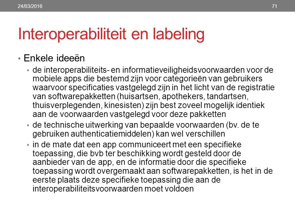 Interoperabiliteit en labeling Enkele ideeën de interoperabiliteits- en informatieveiligheidsvoorwaarden voor de mobiele apps die bestemd zijn voor ca
