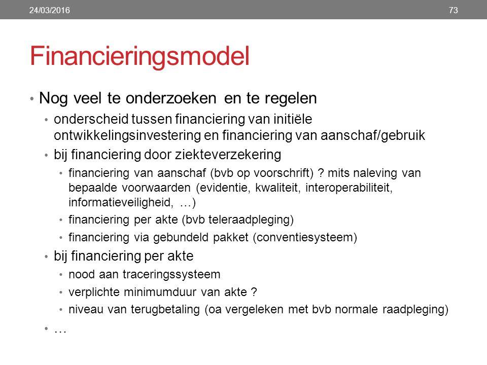 Financieringsmodel Nog veel te onderzoeken en te regelen onderscheid tussen financiering van initiële ontwikkelingsinvestering en financiering van aanschaf/gebruik bij financiering door ziekteverzekering financiering van aanschaf (bvb op voorschrift) .