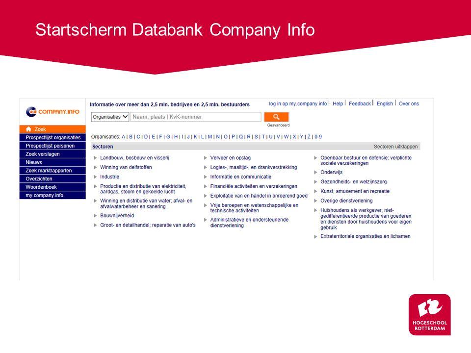 Startscherm Databank Company Info