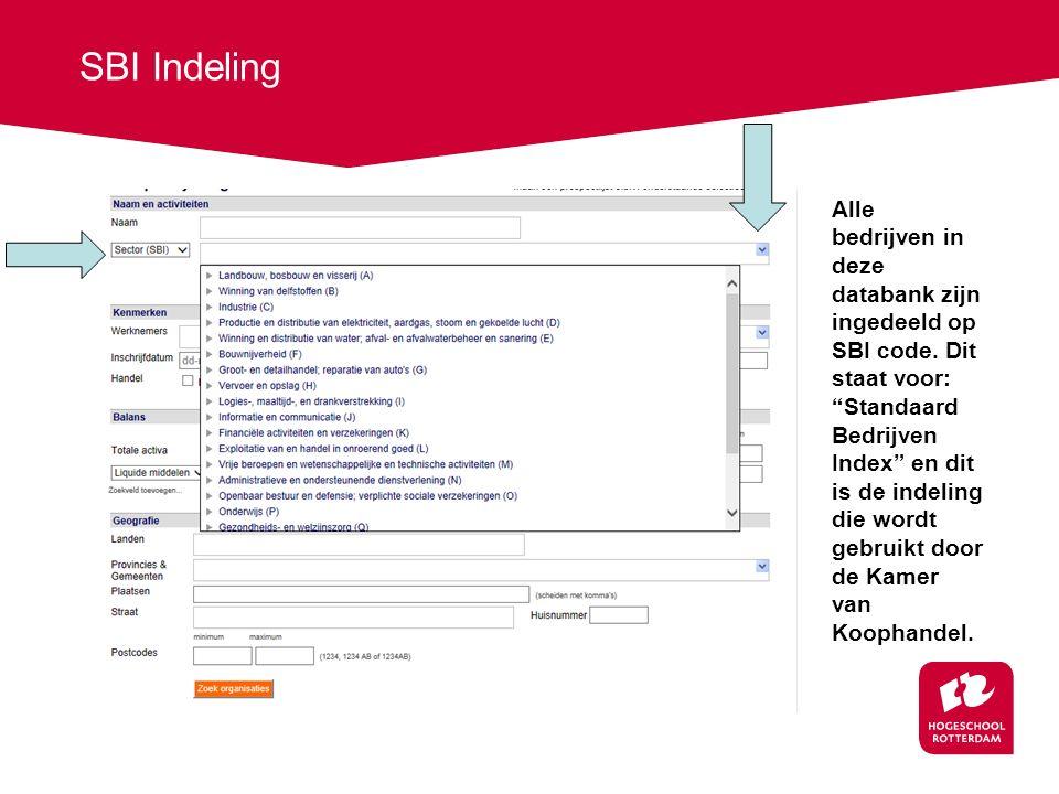 SBI Indeling Alle bedrijven in deze databank zijn ingedeeld op SBI code.