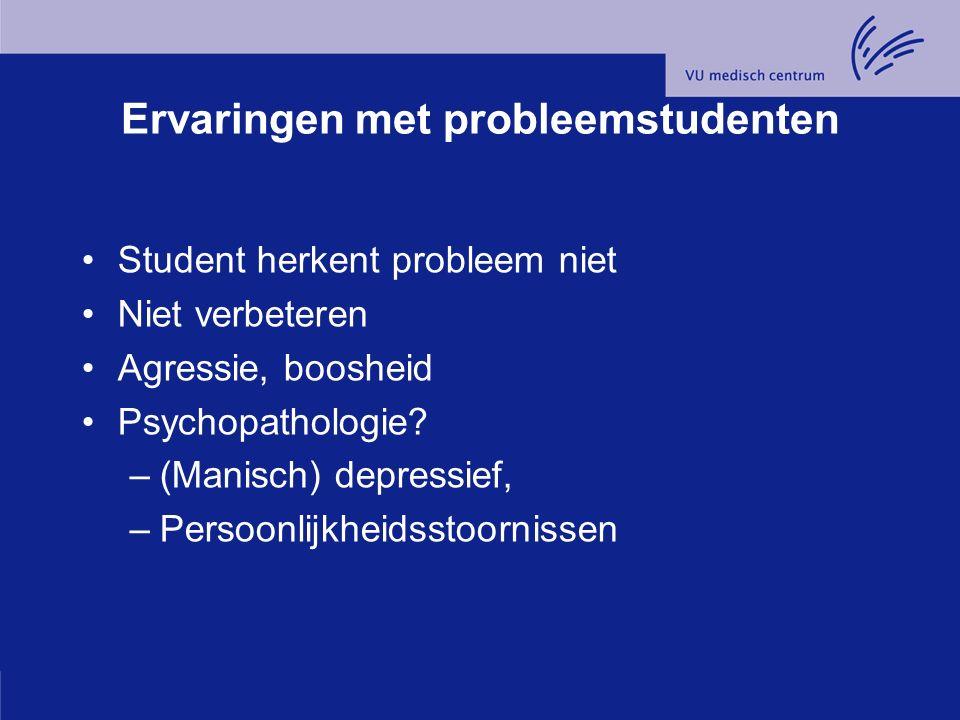 Ervaringen met probleemstudenten Student herkent probleem niet Niet verbeteren Agressie, boosheid Psychopathologie.
