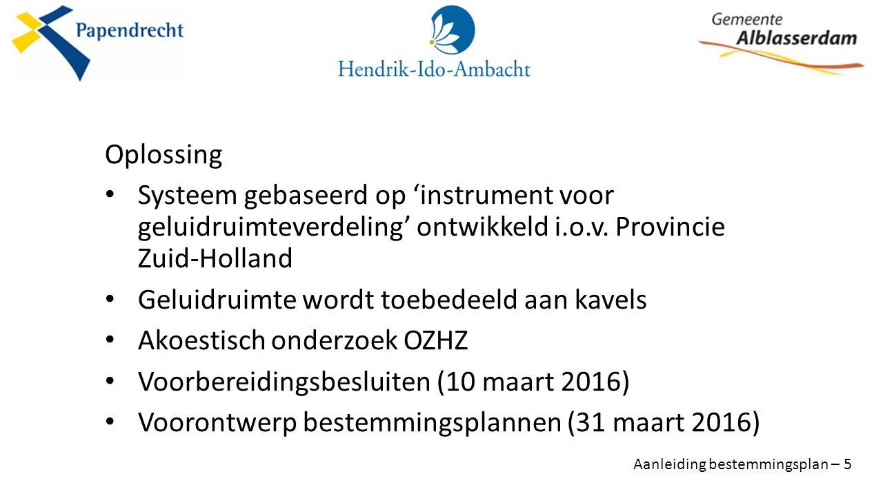 Oplossing Systeem gebaseerd op 'instrument voor geluidruimteverdeling' ontwikkeld i.o.v.