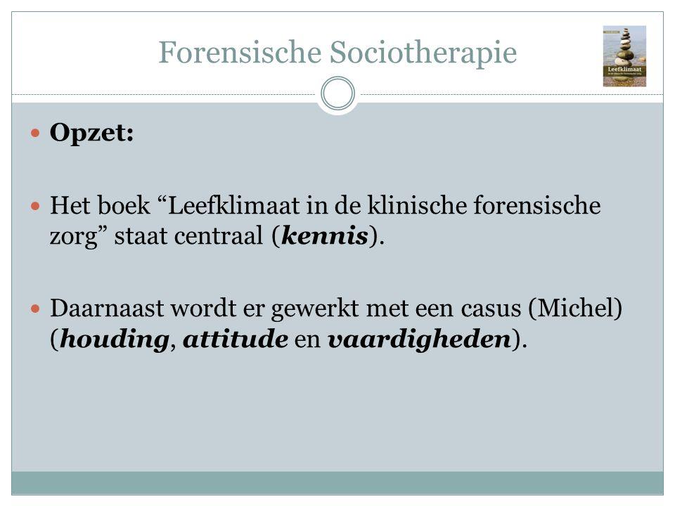 """Forensische Sociotherapie Opzet: Het boek """"Leefklimaat in de klinische forensische zorg"""" staat centraal (kennis). Daarnaast wordt er gewerkt met een c"""