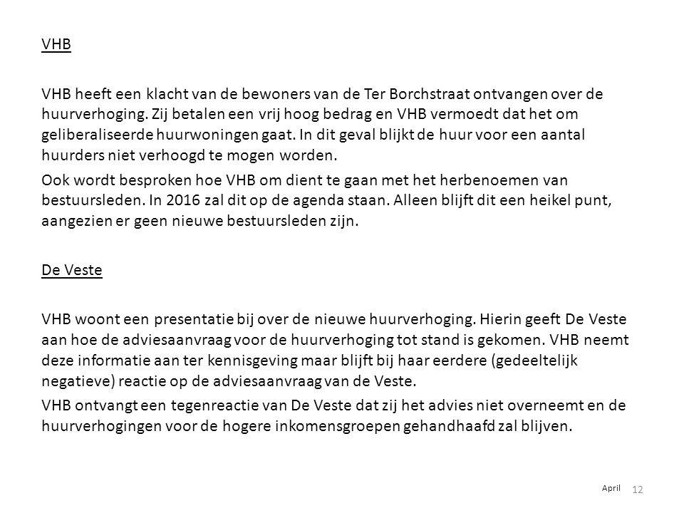 VHB VHB heeft een klacht van de bewoners van de Ter Borchstraat ontvangen over de huurverhoging. Zij betalen een vrij hoog bedrag en VHB vermoedt dat