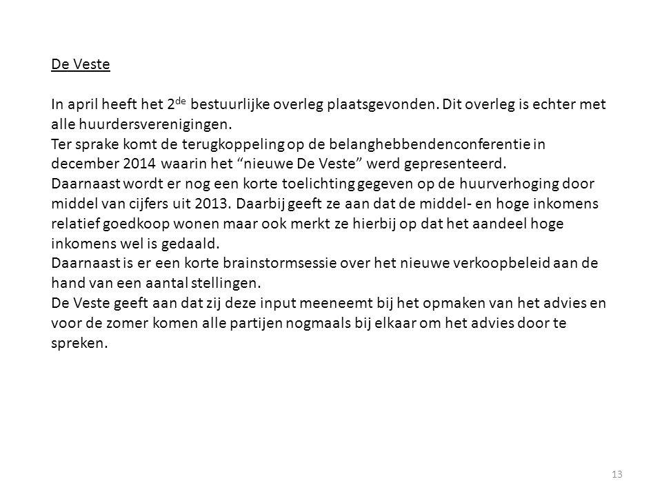 13 De Veste In april heeft het 2 de bestuurlijke overleg plaatsgevonden.